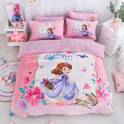 迪士尼正版授权 数码印花保暖四件套 苏菲亚 冰雪公主 松松 漫威 1.35m(4.5英尺)床 苏菲亚公主