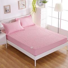 磨毛无线绗缝床笠 枕套/对 粉色