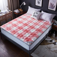 水晶绒良品风抗菌棉床垫 90*200cm 佳人粉-(1)