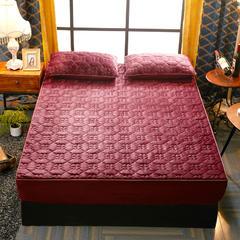 法兰绒绗绣床笠 枕套48*48cm 酒红-(1)