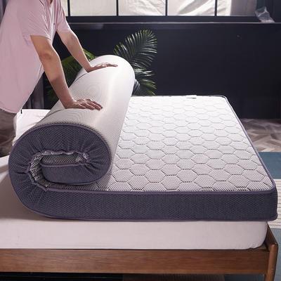 2019新款-針織布+乳膠立體6方格10cm 90*200cm 白黑-(1)