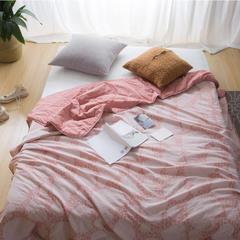 无印水洗棉纯棉薄荷纤维提花夏被  全棉空调被 150x200cm 粉