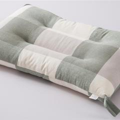 无印水洗棉全棉休闲安睡枕 绿大格