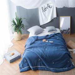 无印纯棉双层纱纯手工钉花夏被 全棉空调被 200X230cm 蓝