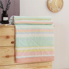 无印纯棉32支纱全棉色织水洗棉夏被长绒棉花芯全棉夏凉被空调被 150x200cm 七彩条
