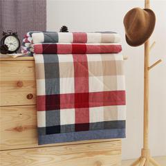 无印32支纱纯棉色织水洗棉夏被长绒棉花芯全棉夏凉被空调被 150x200cm 贵族格-红
