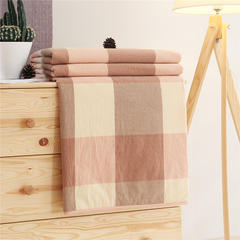 无印32支纱纯棉色织水洗棉夏被长绒棉花芯全棉夏凉被空调被 150x200cm 玉大格