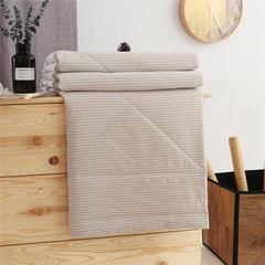 无印32支纱全棉色织水洗棉夏被长绒棉花芯全棉夏被空调被 150x200cm 米细条