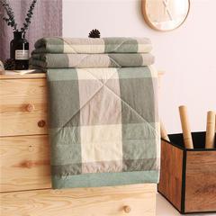 无印32支纱纯棉色织水洗棉夏被长绒棉花芯全棉夏被空调被 150x200cm 绿大格
