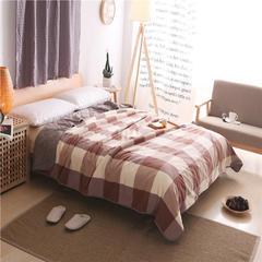 无印水洗棉纯棉薄荷纤维夏凉被 全棉空调被 150x200cm 咖大格