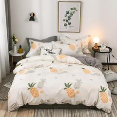 2018新款-针织棉四件套 1.5m(5英尺)床 菠萝 米