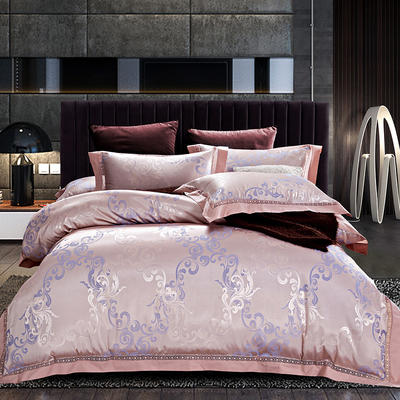 帝爱慕思 60s全棉贡缎提花镂空四件套 简尚风姿-金紫 标准(1.5m-1.8m)床 简尚风姿-金紫