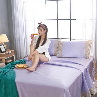 帝爱慕思   床单式冰丝席纯色冰丝蕾丝花边凉席 可水洗冰丝凉席三件套送包装 250*250cm 冰丝贵妃紫
