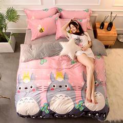 爆款2018新品-超柔水晶绒四件套 三件套1.2m(4英尺)床 大龙猫