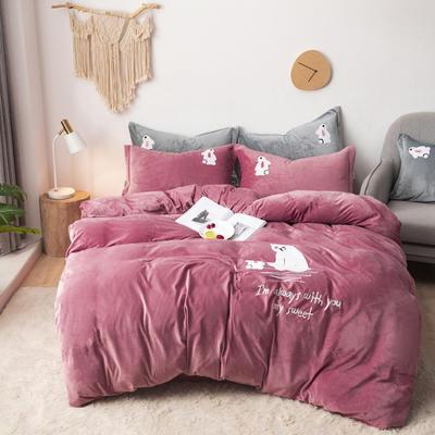 2019新款-宝宝绒毛巾绣四件套 床单款四件套2.0m(6.6英尺)床 小熊-豆沙