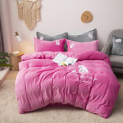 2019新款-宝宝绒毛巾绣四件套 床单款四件套2.0m(6.6英尺)床 小熊-粉