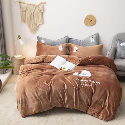 2019新款-宝宝绒毛巾绣四件套 床单款四件套1.8m(6英尺)床 小熊-咖