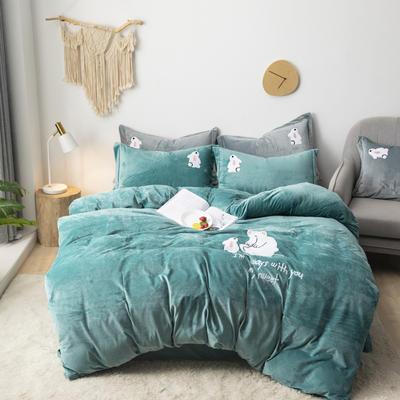 2019新款-宝宝绒毛巾绣四件套 床单款四件套1.8m(6英尺)床 小熊-水绿