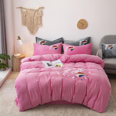 2019新款-宝宝绒毛巾绣四件套 床单款四件套1.8m(6英尺)床 心心相印-粉