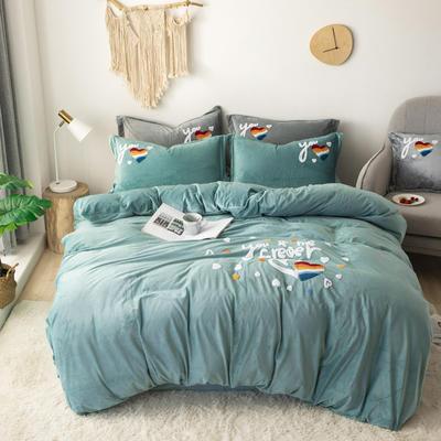 2019新款-宝宝绒毛巾绣四件套 床单款四件套1.8m(6英尺)床 心心相印-水绿