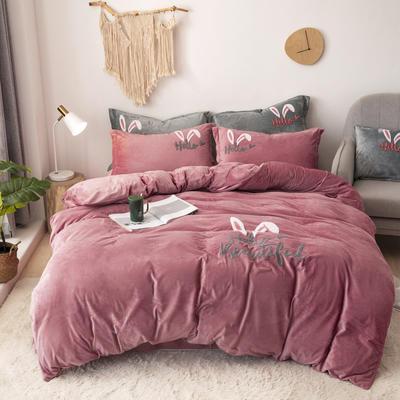 2019新款-宝宝绒毛巾绣四件套 床单款四件套2.0m(6.6英尺)床 兔耳朵-豆沙