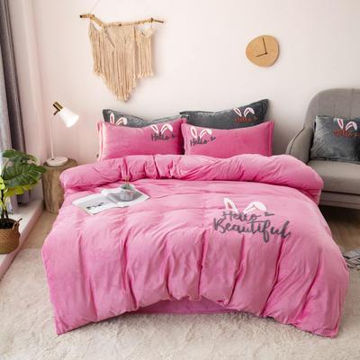 2019新款-宝宝绒毛巾绣四件套 床单款三件套1.2m(4英尺)床 兔耳朵-粉
