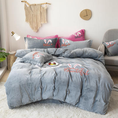 2019新款-宝宝绒毛巾绣四件套 床单款三件套1.2m(4英尺)床 兔耳朵-灰