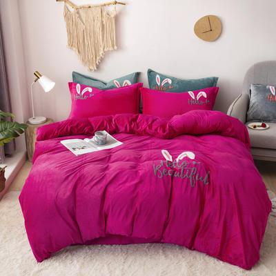 2019新款-宝宝绒毛巾绣四件套 床单款四件套1.8m(6英尺)床 兔耳朵-玫红