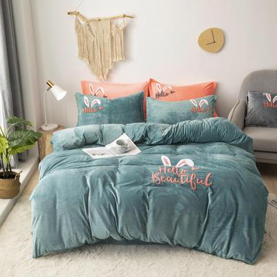 2019新款-宝宝绒毛巾绣四件套 床单款四件套2.0m(6.6英尺)床 兔耳朵-水绿