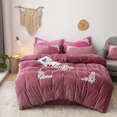 2019新款-宝宝绒毛巾绣四件套 床单款四件套1.8m(6英尺)床 锦绣年华-豆沙