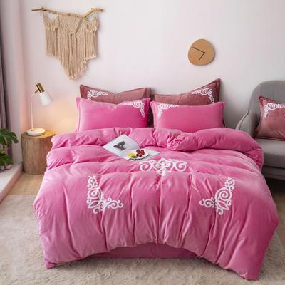 2019新款-宝宝绒毛巾绣四件套 床单款四件套2.0m(6.6英尺)床 锦绣年华-粉