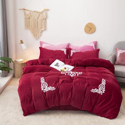 2019新款-宝宝绒毛巾绣四件套 床单款四件套1.8m(6英尺)床 锦绣年华-酒红