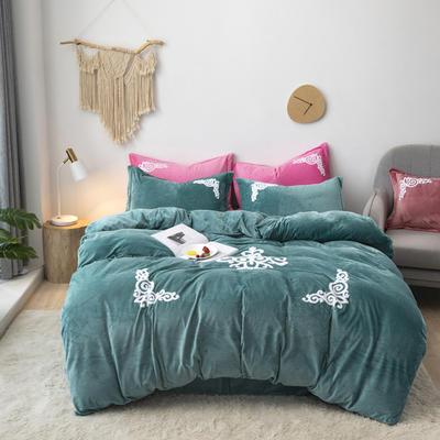 2019新款-宝宝绒毛巾绣四件套 床单款四件套1.8m(6英尺)床 锦绣年华-水绿