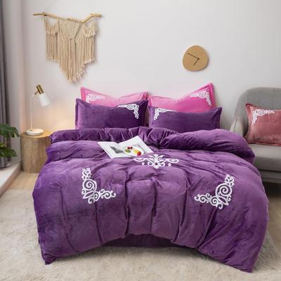 2019新款-宝宝绒毛巾绣四件套 床单款四件套1.8m(6英尺)床 锦绣年华-紫