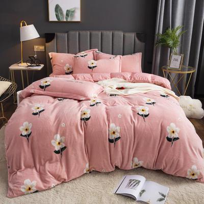 2019新款-ins牛奶绒印花四件套 床单款1.8m(6英尺)床 贝拉-粉