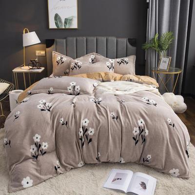 2019新款-ins牛奶绒印花四件套 床单款1.8m(6英尺)床 春之意-卡其