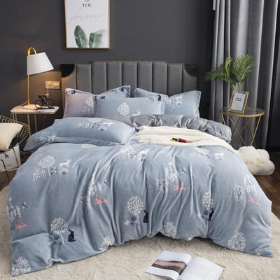 2019新款-ins牛奶绒印花四件套 床单款1.8m(6英尺)床 穆夏-兰