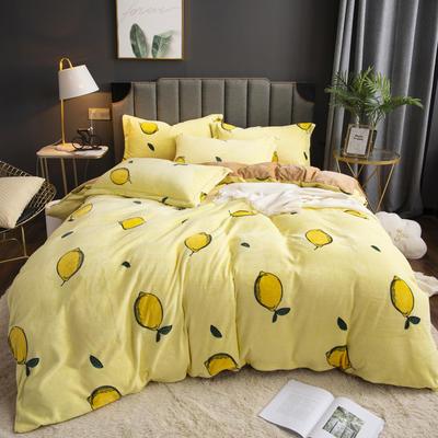 2019新款-ins牛奶绒印花四件套 床单款1.8m(6英尺)床 柠檬-黄