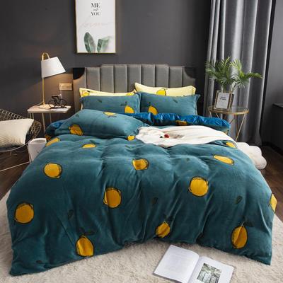 2019新款-ins牛奶绒印花四件套 床单款1.8m(6英尺)床 柠檬-兰