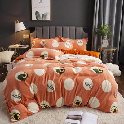 2019新款-ins牛奶绒印花四件套 床单款1.8m(6英尺)床 牛油果-桔