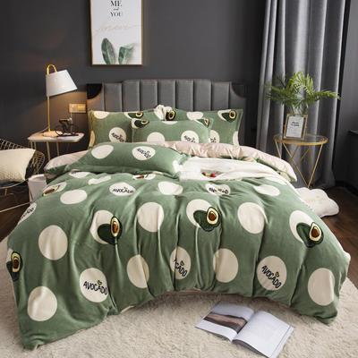 2019新款-ins牛奶绒印花四件套 床单款1.5m(5英尺)床 牛油果-绿