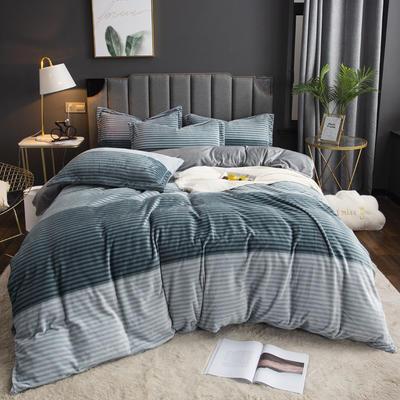 2019新款-ins牛奶绒印花四件套 床单款1.8m(6英尺)床 绅士条纹-兰