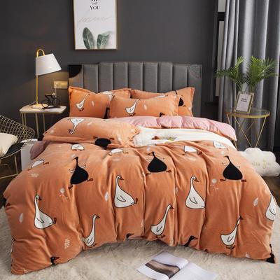 2019新款-ins牛奶绒印花四件套 床单款1.8m(6英尺)床 顽皮鹅-桔