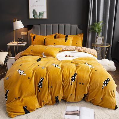 2019新款-ins牛奶绒印花四件套 床单款1.8m(6英尺)床 小猫咪-姜黄