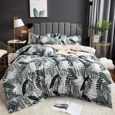 2019新款-ins牛奶绒印花四件套 床单款1.8m(6英尺)床 叶语-绿