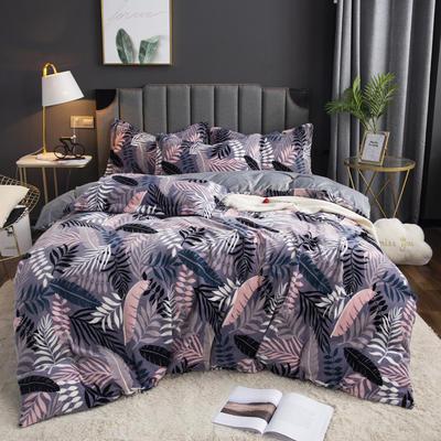 2019新款-ins牛奶绒印花四件套 床单款1.8m(6英尺)床 叶语-紫