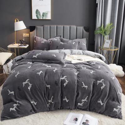 2019新款-ins牛奶绒印花四件套 床单款1.8m(6英尺)床 字母小马