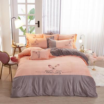 2019新款-水晶绒工艺款四件套 床单款2.0m(6.6英尺)床 美好生活-灰桔