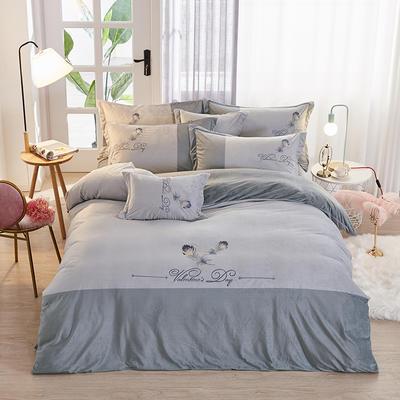 2019新款-水晶绒工艺款四件套 床单款2.0m(6.6英尺)床 美好生活-蓝灰