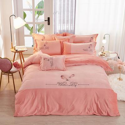 2019新款-水晶绒工艺款四件套 床单款2.0m(6.6英尺)床 美好生活-浅玉
